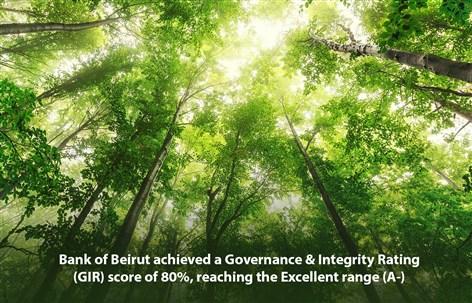 بنك بيروت يشهد ارتفاعاً بلغ 67 نقطة ليسجّل A-على سلّم تصنيف الإدارة الحكيمة والنزاهة (GIR)